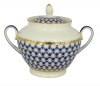 Lomonosov Imperial Porcelaine Sugar Bowl Spring Cobalt Net 13.5 oz/400 ml