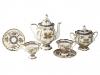 Lomonosov Porcelain Coffee Set Natasha Fantastic Butterflies 14 pcs 6/14: Coffee Pot, Sugar Bowl, 6 Cups with Saucers