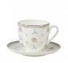 Lomonosov Bone China Cup and Saucer Flower Waltz 6 fl.oz/180ml