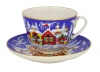 Lomonosov Imperial Porcelain Tea Set Cup and Saucer Spring Winter Fairytale 7.8 oz/230 ml