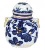 Lomonosov Imperial Porcelaine Tea Holder Box Ring Cobalt Garden