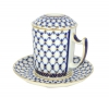 Lomonosov Porcelain Cobalt Net Covered Herbal Steep 12.8 oz Mug with Saucer