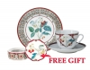 Special Offer Set: Decorative Plate and Teacup with Free Bijou Box Sweet Raspberry Lomonosov Porcelain