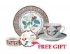 Special Offer Set: Decorative Plate and Teacup with Free Bijou Box Sweet Raspberry Lomonosov Porcelain