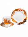 Imperial Porcelain Bone China Cup and Saucer May Orange 5.6 fl.oz/165 ml 3 pc