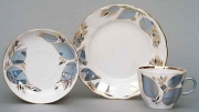 Lomonosov Porcelain Moonlight Coffee Cup, Saucer and Dessert Plate