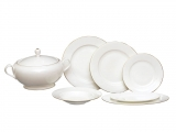 Russian Porcelain Dinner Set Golden Ribbon 24 pc