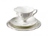 Lomonosov Porcelain Bone ChinaTea Set Cup 7.8 oz/220 ml, Saucer and Cake Plate Loops 3pc
