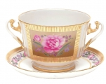 Lomonosov Imperial Porcelain Soup Bowl and Saucer Recollection 12.7 oz/360 ml