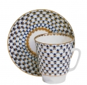 Russian Porcelain Cobalt Net May Coffee Cup & Saucer
