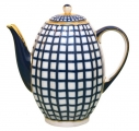 Russian Porcelain Porcelain Coffee Pot 8-Cup  with Lid Cobalt Cell 40 fl.oz/1200 ml