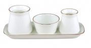 Lomonosov Imperial Porcelain Salt Pepper Spice Set 4 pc Golden Ribbon