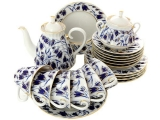 Lomonosov Imperial Porcelaine Blue Bells Tea Set 6/21