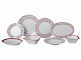 Lomonosov Porcelain Dinner Set Youth Red Net 24-pieces