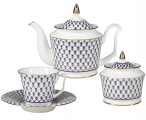 "Lomonosov Imperial Porcelain ""Cobalt Net"" Bone China Tea Set"