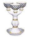 Decorative Candle Holder Cobalt Net for 3 Lomonosov Imperial Porcelain