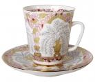 Lomonosov Imperial Porcelain Cup and Saucer Bone China May Golden Vases 5.6 fl.oz/165 ml 2 pc
