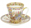 Lomonosov Imperial Porcelain Cup and Saucer Bone China Oriental Gifts 2.71 fl.oz/80 ml
