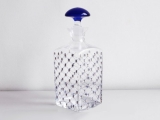 Imperial Porcelain Factory Glass Cognac Decanter Blue Top Cobalt Net 33.8 oz/1000ml