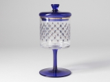 Imperial Porcelain Factory Glass Covered Jam Honey Vase Cobalt Net