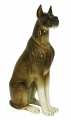 Great Dane Dog Sitting Brown Colored Lomonosov Imperial Porcelain Figurine