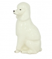 King Poodle Dog White Colored Lomonosov Porcelain Figurine