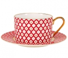 Lomonosov Bone China Porcelain TeaCup Nad Saucer Scarlet v.1 8.45 oz 250 ml