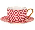 Lomonosov Bone China Porcelain TeaCup Nad Saucer Scarlet v.1 8.45 oz 250 ml