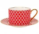 Lomonosov Bone China Porcelain TeaCup and Saucer Scarlet v.2 8.45 oz 250 ml