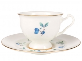 Lomonosov Imperial Bone China Tea Set Cup and Saucer Aisedora Blueberry 8.1 oz240 ml