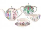 Lomonosov Imperial Porcelain Tea Set Tulip Peacock's Feather 6/14
