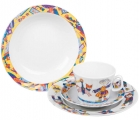 Lomonosov Imperial Porcelain Baby Set 4ps: Cup with saucer, Plate and Bowl Children's Circus