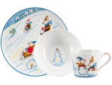 Lomonosov Imperial Porcelain Baby Set: Cup, Plate, Bowl Winter Promenade