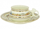 Lomonosov Imperial Porcelain Bone China Cup and Saucer Bilibina Neva Embankment