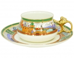 Lomonosov Imperial Porcelain Bone China Cup and Saucer Bilibina Village at the Lake 6.1 fl.oz/180ml