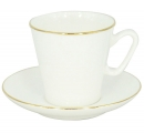 Lomonosov Imperial Bone Cup and Saucer Golden Edge China Black 2.71 fl.oz/80 ml