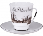 Lomonosov Imperial Porcelain Bone China Cup and Saucer May Good-bye Petersburg (4)