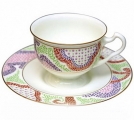 Lomonosov Imperial Porcelain Bone China Cup and Saucer Pink Marietal