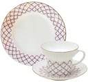 Lomonosov Imperial Porcelain Bone China Cup and Saucer Pink Net Wave