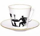 Lomonosov Imperial Porcelain Bone China Espresso Cup and Saucer Visitor
