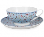 Lomonosov Imperial Porcelain Bone China Tea Cup and Saucer Dome Blue Chintz