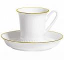 Lomonosov Imperial Porcelain Bone China Tea Cup and Saucer Vertical Golden Edge