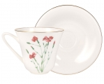 Lomonosov Imperial Porcelain Bone China Tea Set Cup and Saucer Carnation Flower 7.3 fl.oz/200 ml