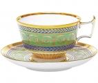 Lomonosov Imperial Porcelain Coffee Cup and Saucer Alexandria Golden 6.8 oz/200 ml