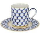 Lomonosov Imperial Porcelain Espresso Coffee Cup Solo Cobalt Net 3.4 oz/100 ml