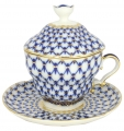 Lomonosov Imperial Porcelain Covered Cup and Saucer Cobalt Net Gift-2