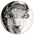 Lomonosov Imperial Porcelain Decorative Wall Plate Totem Animal BUFFALO