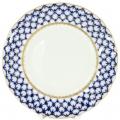 """Lomonosov Imperial Porcelain Dessert Plate Cobalt Net Cake Tulip 5.9""""/150 mm"""