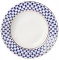 """Lomonosov Porcelain Dinner Plate Cobalt Net European-2 Flat 8.5""""/215 mm"""