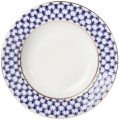 "Lomonosov Imperial Porcelain Dinner Plate Cobalt Net European-2 Flat 10.6""/270 mm"